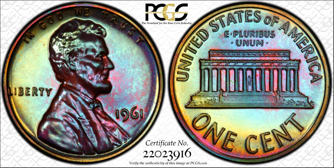 1961 Colorfully Toned Proof Lincoln (PCGS PR65RB)